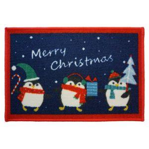 Christmas Mat 2D – 3 Penguins 40cm X 60cm -1