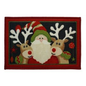 Christmas Mat 2E – Santa and 2 Reindeer 40cm X 60cm -1